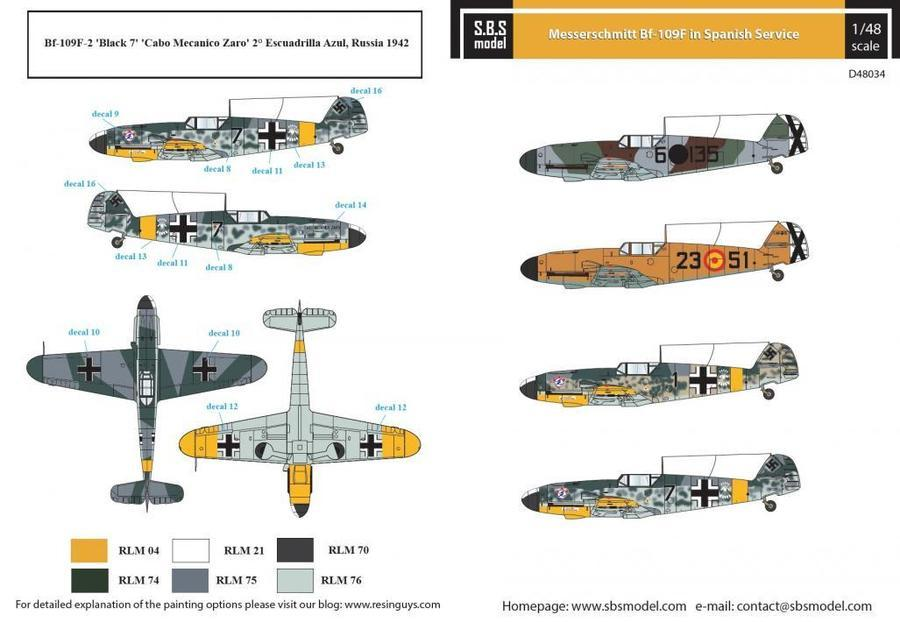 1/48 MESSERSCHMITT BF-109F SPANISH AIR FORCE - DECALS