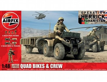 Airfix 1/48 British Forces Quad Bikes & Crew Model Kit